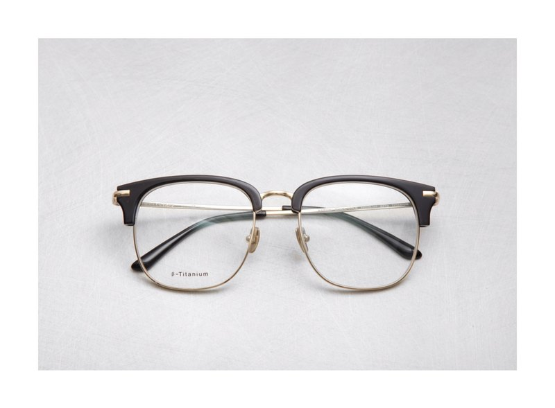 Japanese black gold vintage eyebrow frame