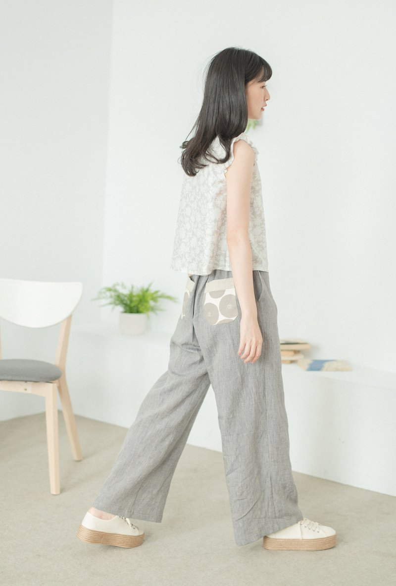 Gray round hemp wide pants