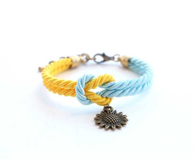 Sunflower yellow / blue knot rope bracelet with sunflower charm