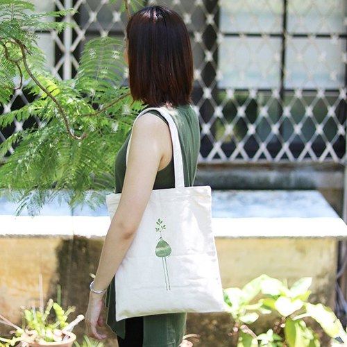 Straight green canvas bag │ mood bird │Chien│