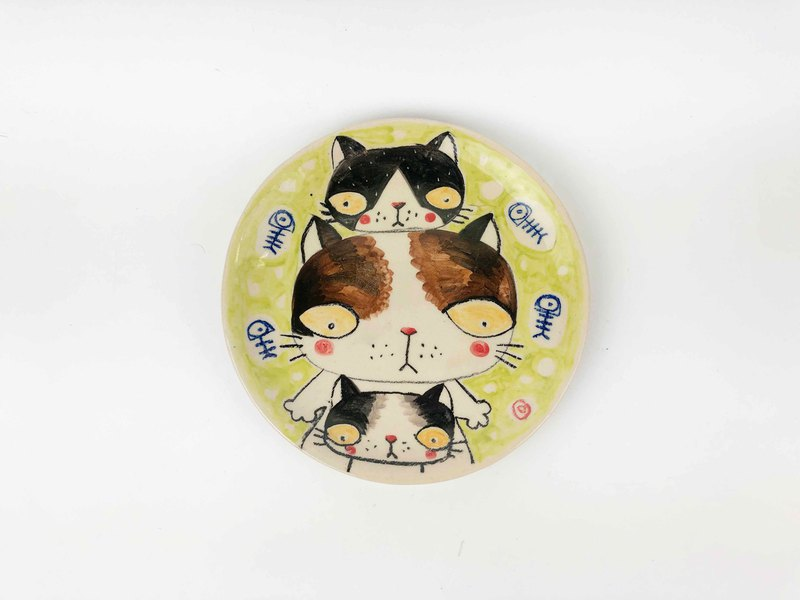 Nice Little Clay handmade platter cat pyramidalo 03011-03