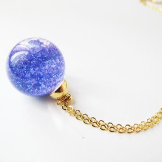 * Rosy Garden * Galaxy purple glitter with water inside snow flakes glass ball pendant necklace