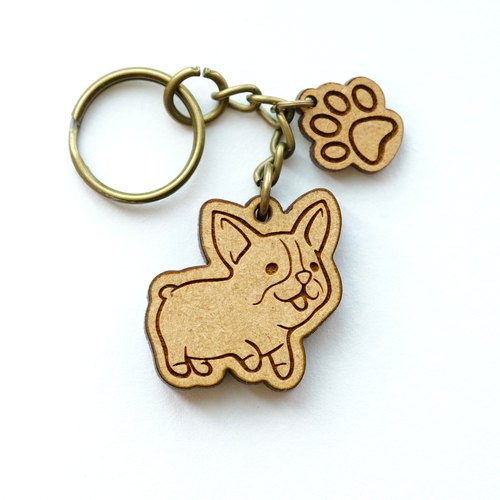 Wooden key ring - Welsh Corgi