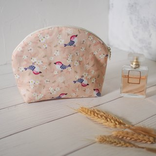 Mermaid series cosmetic bag / Clutch / limited manual bag / Sakura bird / stock available