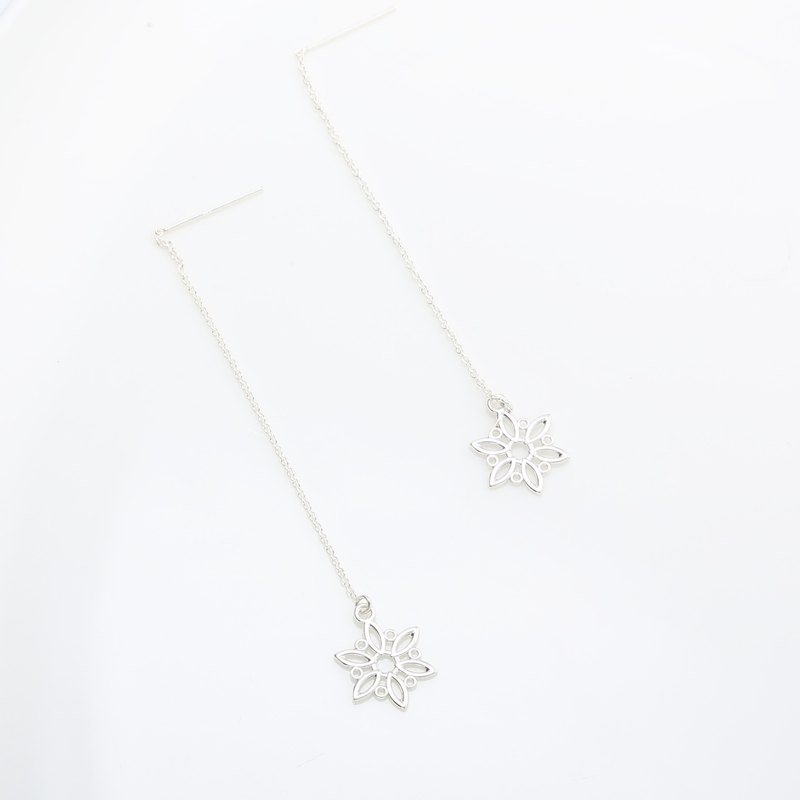 Snowflake Snow s925 sterling silver earrings Birthday Valentine's Day gift