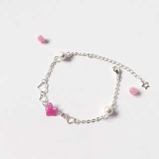 * Haku‧Neko * Romantic Sweetheart Mini Heart Pink Hydrangea Cotton bead Bracelet (three-dimensional real flower series)