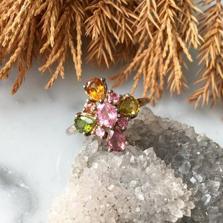 ♦ My.Crystal ♦ Crystal Flower ♦ High quality natural tourmaline silver ring