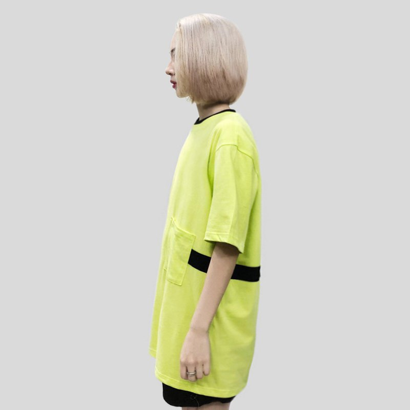 [ionism] stitching pocket short T fluorescent green
