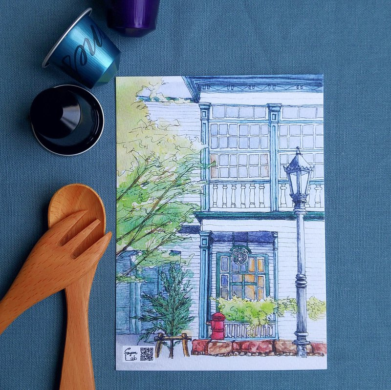A coffee shop - watercolor illustration postcard