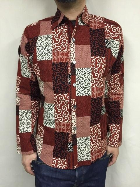 Long-sleeved patchwork tone arabesque shirt (red)