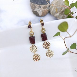earring. Red Garnet* Brass Zircon Flower Earrings with Stainless Steel Ear Clips (Clampable)