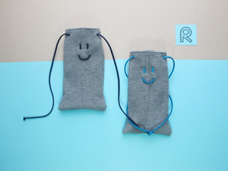 Smile Socks / Wen Qing section tied rope stockings / shallow mud gray / order custom