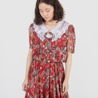 [Egg Plant Vintage] Paradise Rainforest Lace Lapel Print Vintage Dress