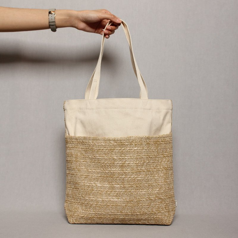 Five bags especially good canvas bag rattan style light brown