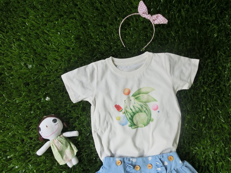 ~Watermelon rabbit ~ child T // unique hand-painted wind does not hit the shirt pure material comfortable and breathable / / parent-child wear