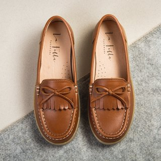 Leather tassel bow loafers _ caramel brown