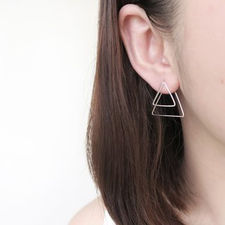 925 Silver Classic Geometric Double Layer - Square、Round、Triangle Ear Earrings