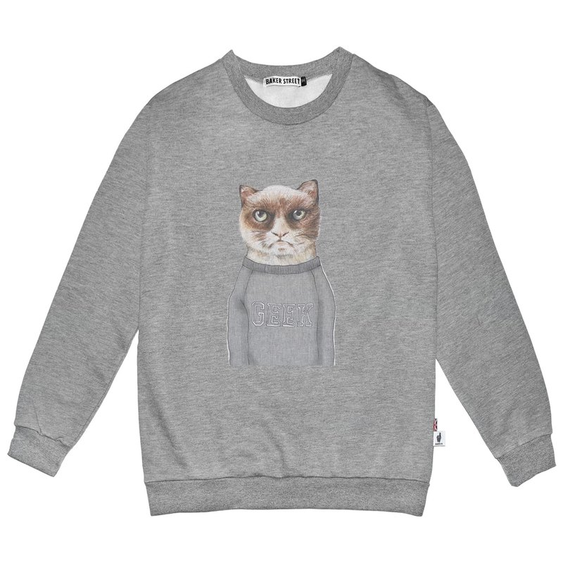 British Fashion Brand -Baker Street- Angry Cat Printed Sweatshirt