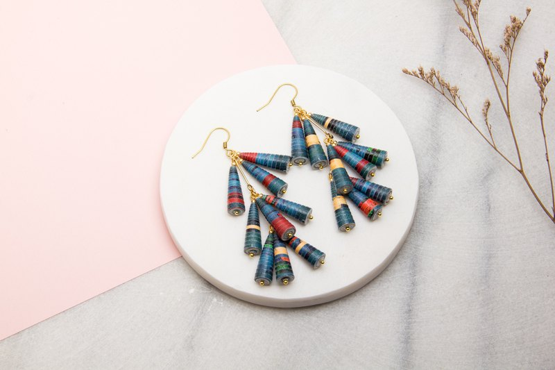 Color calm section three layers of paper beads earrings