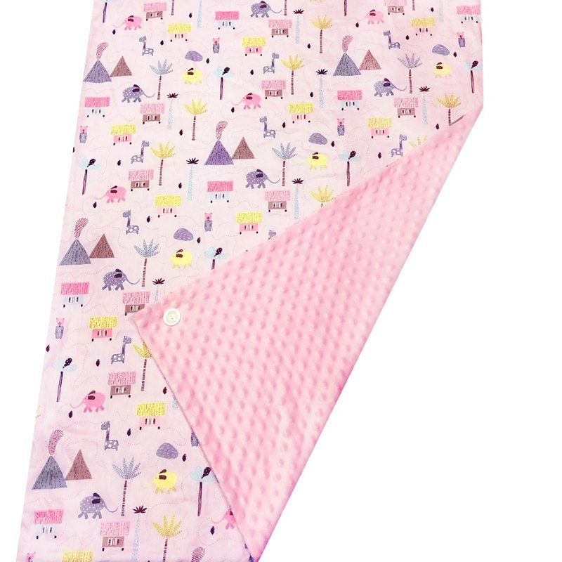 Minky多功能 點點顆粒 攜帶毯嬰兒毯冷氣毯被 粉色-叢林