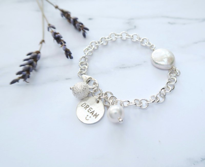 925 sterling silver dream pearl - round custom letter stamped bracelet