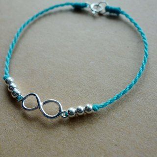 ~ M + bear ~ unlimited love / wax wax / sterling silver / braided bracelet / 925 silver bracelet / anklet