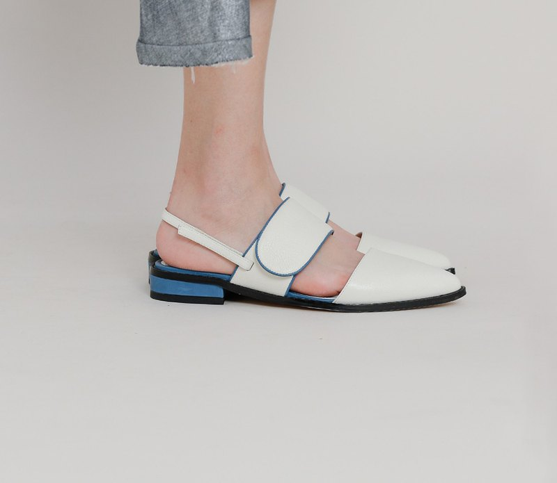 Rolled wide cross belt flat bottom leather sandals white
