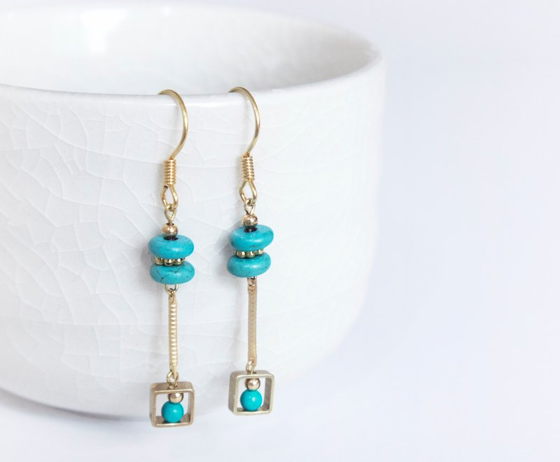Retro Vintage / Turkish Pendulum - Turquoise Brass Earrings