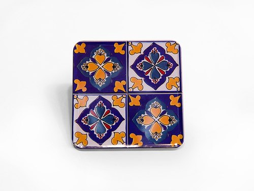 Fourfold flower ☜ impression [Taiwan] old tiles Coasters magnets