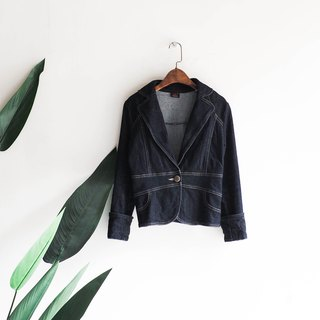 Lee岐阜 deep sea blue slim single buckle girl antique cotton denim shirt jacket coat vintage