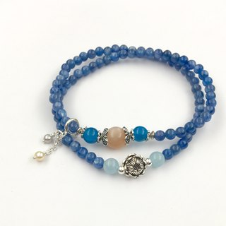 Kyanite Double Circle Bracelet - with Moonstone, Apatite, Seawater Sapphire