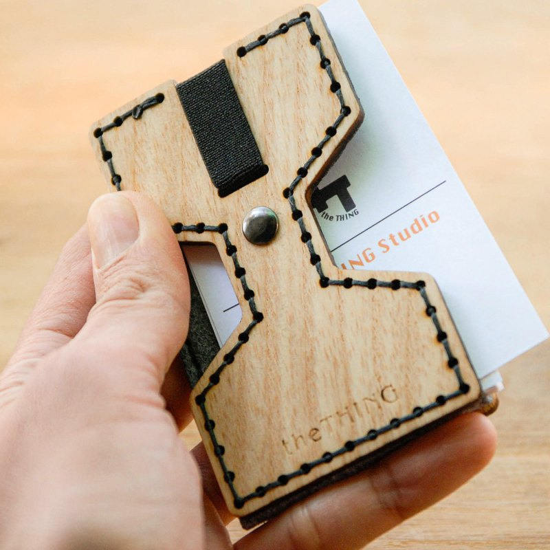 OnMyWay pocket type wooden card holder / business card holder / can hold banknotes