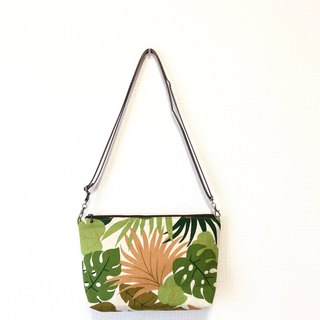 Dual-use length cross-body bag - Japan imported flower cloth - green rainforest
