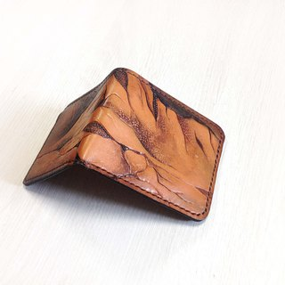 POPO│Short wallet│leather│ unique rock crag│ Taiwan. Yushan Range Short leather folder │