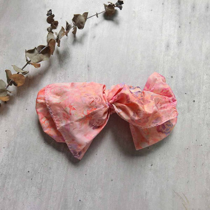 Pink orange rose giant butterfly hair band - the whole strip can be taken apart
