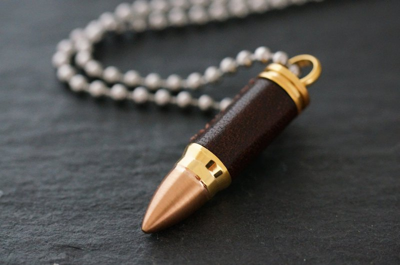 Handmade Leather Stainless Steel Bullet Necklace