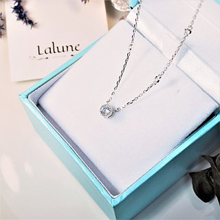 [Lalune] 925 sterling silver Willpower conscious ball side round diamond pendant necklace