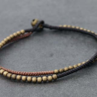 Beaded Woven Brass Anklets Earth Tone Vanilla Raw Brass Beads Ankles Bracelets
