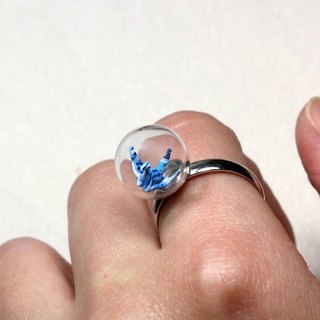 Mini cranes glass ball Ring (Moonlight streamer) - Valentine's Day gift
