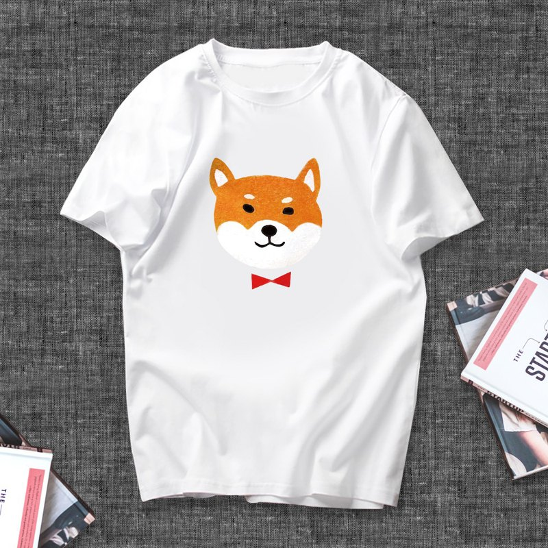 Customized short-sleeved T-shirt Shiba Inu Want Want