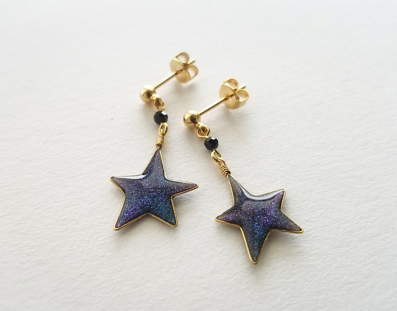 blue twinkle little star pierced or clip-on earrings
