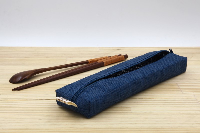 [Paper cloth home] paper line woven large tableware bag denim blue