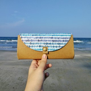 [海の色]The blue water hand-painted wash kraft paper organ wallet