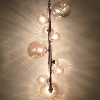 Single bamboo rose gold chandelier