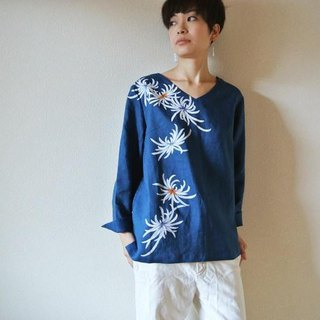 Linen long-sleeved blouse · blue <Rikiku>