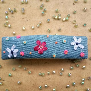 R ee denim ribbon flower hair clip HA003