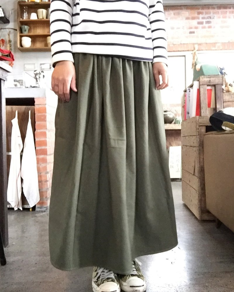 Handmade natural materials fall and winter thick cotton wash old tank 18 Long green pocket Yuanqun