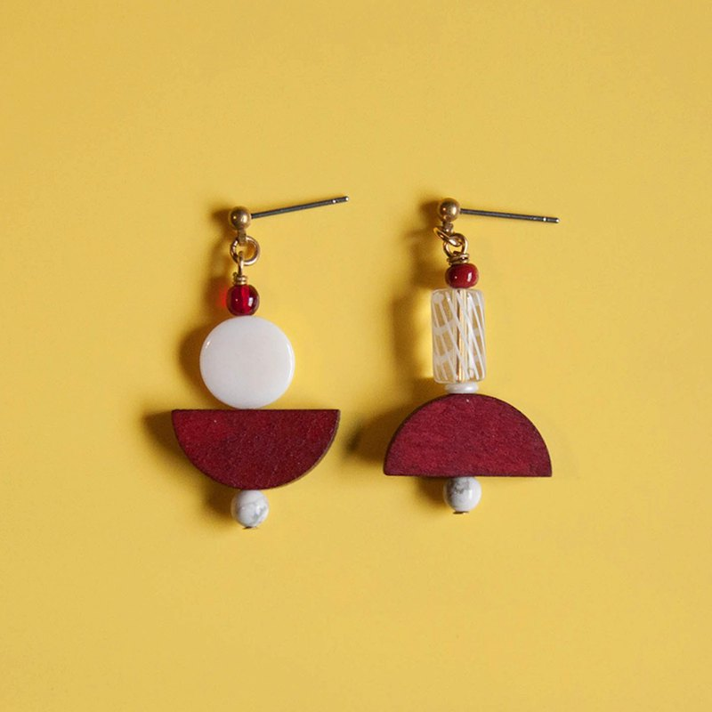 Space Age - Asymmetric Geometric Red and White Earrings