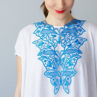 BLUE  Clothing Gift Necklace Venise Lace Necklace Lace Jewelry Bib Necklace Statement Necklace Body Jewelry Gift/ FIORDI