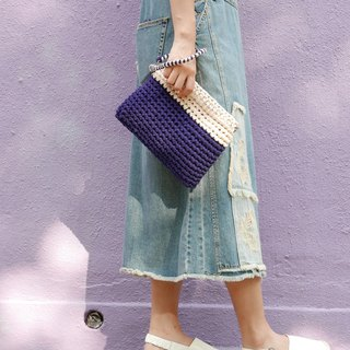 Duo Color Clutch, crochet, knit, handmade (Indigo / Beige)